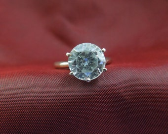 Vintage Costume Ring, Size 8.25, Silver Toned with Faux Diamond.  Nice