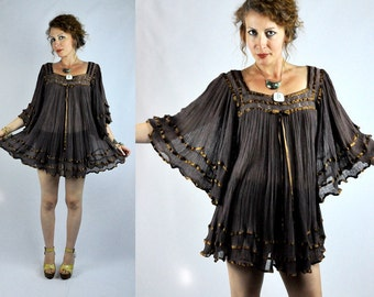 Vintage Angel Sleeves Brown MINI Dress Blouse Tunic Oversized Cotton Gauze Bat Wing Bell Sleeves Mexican Pleated Free Size OS - S - M - L