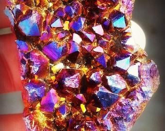 Cobalt Aura Amethyst Crystal- hand dyed.