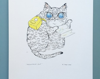 Adventure Cat - 8x10 print on cotton fiber paper