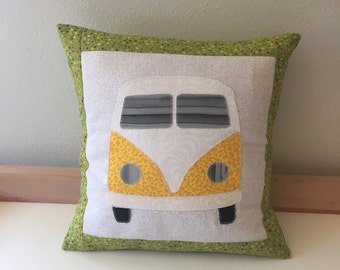 """VW Bus Inspired Yellow and Green Hippie Accent Pillow Cushion Includes 12""""x12"""" Pillow Insert"""