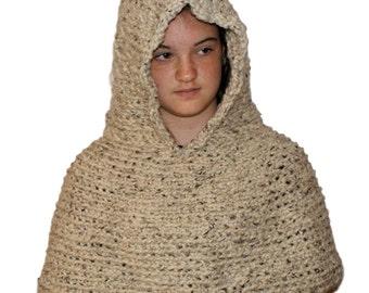 Hooded Poncho, Crochet Capelet, Oatmeal Hood, Wool Capelet, Hooded Sweater, Womens Scoodie, Chunky Hood Scarf,  Fantasy Hood, Faery Hood