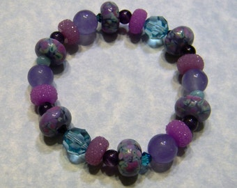 Lavender, Lilac & Turquoise Art Glass Lampwork, Crystal, Gemstone and Acrylic Bead Stretch Bracelet