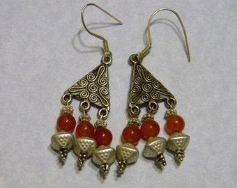 Heavy Bali Silver and Carnelian Chandelier Earrings