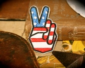 Vintage Patriotic Peace Sign Patch