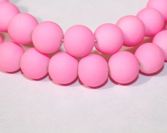 80pc Pink Loose Glass beads/ Bracelet beads / Necklace Beads/10mm