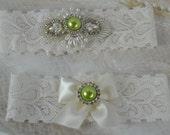Wedding Garter Set - Green Garter- Pearl  Rhinestone Garter -Ivory  Lace Garter