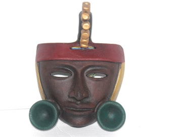 Exquisite Vintage Hand Crafted Painted Clay Aztec Warrior Mask, Antique Alchemy
