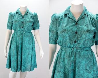 XL Dress - XL Vintage Dress - Teal Green Floral w Short Sleeves