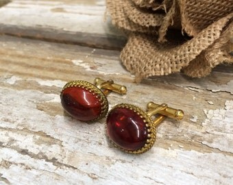 Gorgeous Carnelian Colored Cuff Links