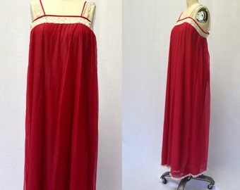 Vintage 1960s Pleated Red and Lace Maxi Nightgown