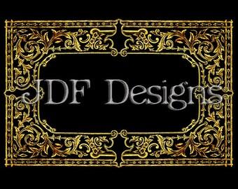 Instant Digital Download, Victorian Era Graphic, Decorative Gold Gilded Black Ornate Frame, Printable Image, Scrapbook, invitation, Label