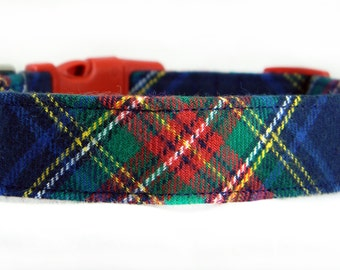 Red and Navy Flannel Plaid Dog Collar/ Winter Dog Collar: Ivy League Flannel