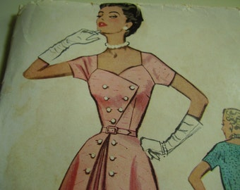 Vintage 1950's McCall's 9322 Dress Sewing Pattern, Size 12, Bust 30