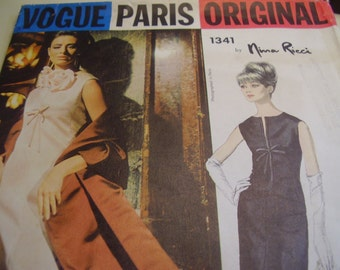 Vintage 1960's Vogue 1341 Nina Ricci Evening Dress and Stole Sewing Pattern, Size 12 Bust 32