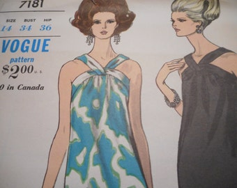 Vintage 1960's Vogue 7181 Dress Sewing Pattern Size 14 Bust 34