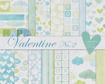 Happy Valentine digital paper pack no. 2 -textured blue green scrapbooking paper-14 printable jpeg papers, 12x12, 300 dpi - instant download