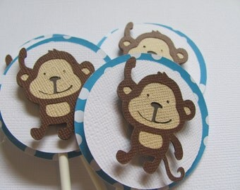Cupcake Toppers, Set of 12,  Monkey Cupcake Toppers