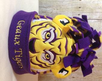 LSU colors tiger fleece beanie hat