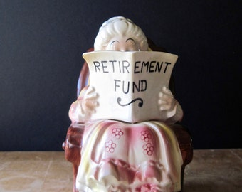 Old Lady Grandma Retirement Fund Savings Bank, Coin Bank, Vintage Ceramic Bank