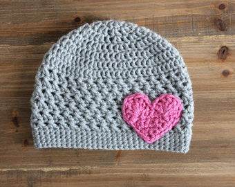 Gray Crochet Hat with Pink Heart- Gray and Pink Baby Hat, Gray and Pink Toddler Hat