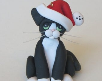 Black White Tuxedo Cat Christmas Ornament Figurine Polymer Clay Sculpture