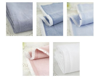 Solid Chambray Cotton Fabric - Navy, Blue, Sky, Indi Pink or White - By the Yard 67803