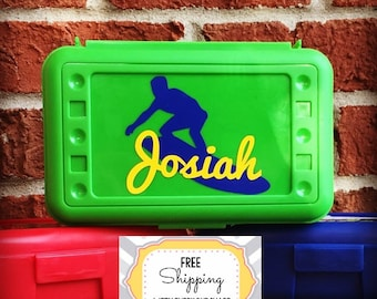 Personalized Pencil Box, Surfer Supply Box, Surfer Pencil Box, Surfer Birthday Party, Surfer Party Favor, Personalized Crayon Box