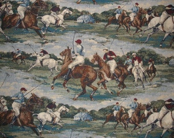 Polo Horse and Rider Equestrian Upholstery Tapestry Fabric Rare OOP Textile High Quality