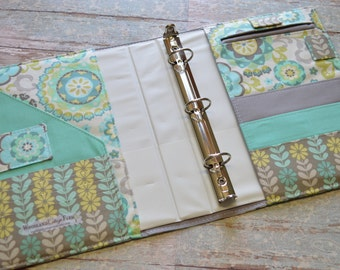 3 Ring Binder Cover - in Aqua and Mint Floral fabric - h2