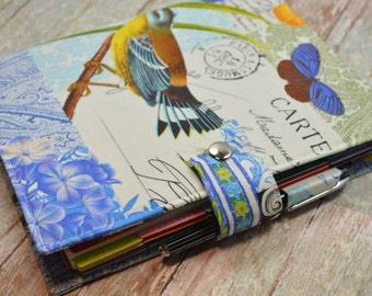 Planner Cover - in Michael Miller French Journal fabric - F2