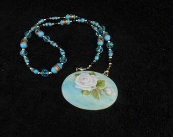 Vintage Porcelain Pendant: Porcelain Jewelry