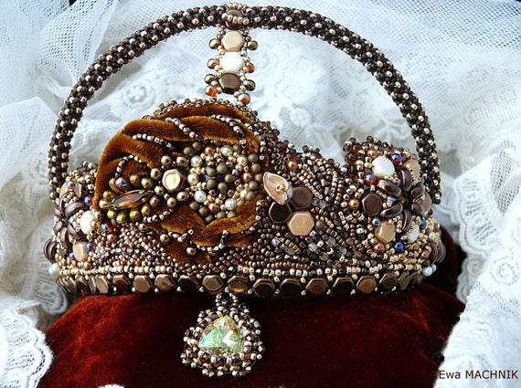 Bead embroidered crown tiara with swarovski crystal rivoli