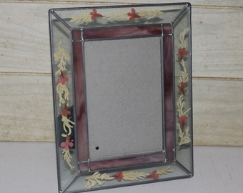 Vintage Leaded Glass and Pressed Flowers Picture Frame - Shabby Chic - Home Decor - Stained Glass Look- Pink- Cottage Decor- Vintage Wedding