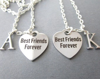 2 Best Friends Forever, Initial Necklaces/ Best Friend Necklace, Best Friend Gift, Best Friend jewelry