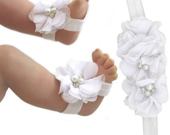 White Baby Barefoot Sandals and Headband set,  baby Barefoot Sandals, Baby Girl Shower gifts