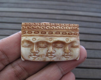 Amazing detail  Antique look three Buddha face Carved Bone Cabochon, Embellishment, Jewelry making Supplies B3833