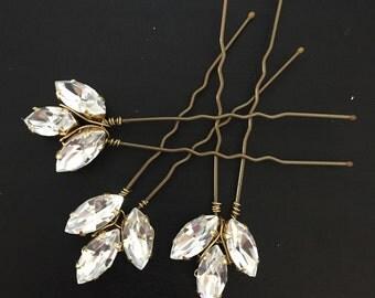 Crystal hair pins  , Wedding hair , Bridal Hair Accessories , wedding headpiece - hair accessories. Precosia crystal - leaf pins