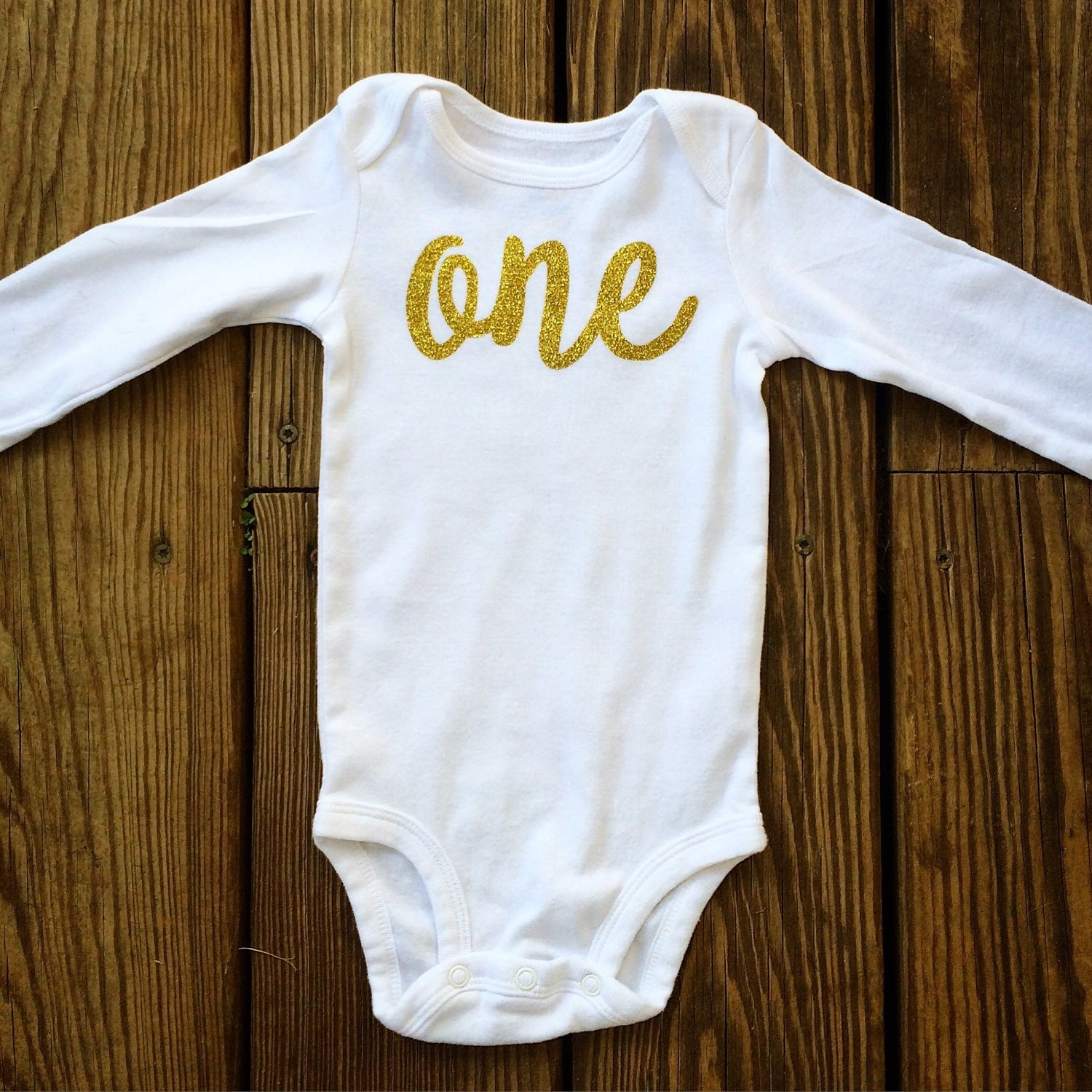 One Glitter 1st Birthday Onesie Long Sleeves