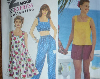 Vintage Simplicity 2 Hour Express Collection Sundress or Top and Pants or Shorts Pattern 7291 Sizes Available 6-8 to 18-20