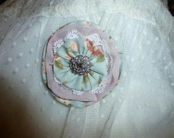 Fabric Brooch with Rhinestone Centerpiece