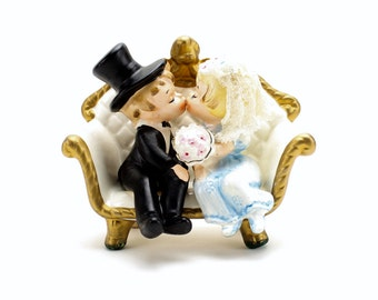 Vintage Cake Topper, Lefton Bride and Groom on Loveseat, Blue Bride, Romantic Topper, Wedding Cake Topper, Bride Groom Figurines, Epsteam
