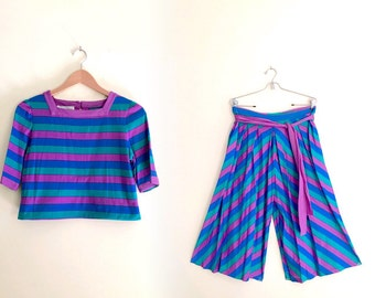 Vintage 80s Striped Crop Top and Palazzo Cropped Pants Set // Two Piece Set // Made in the USA // Green, Blue, Purple