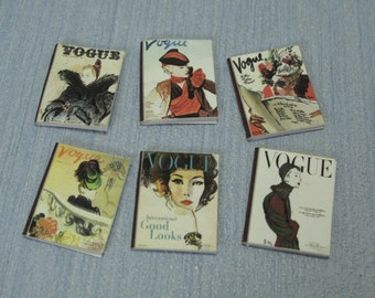 Gaël Miniature decorative 6 shabby chic sewing  magazines, tea books  1:12 Scale Or 1/6 Scale Dollhouse Miniature playscale