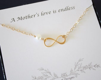 2 Gold Infinity Mother Gift, Mother Necklace, Infinite Necklace, Eternity Jewelry, White Pearl, Gold Necklace, Mother to Be, Thank You Card