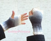 Knitted mens mitten, mens gray gloves, mens fashion, mens gloves, valentines, gift for him, gift for boyfriend