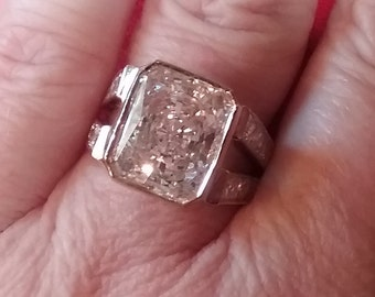 Vintage Engagement Ring - Vintage 1980s CZ Engagement Ring - Radiant Emerald Cut Engagement Ring