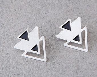 silver stud earrings, triangles post earrings,  Geometric EARRINGS