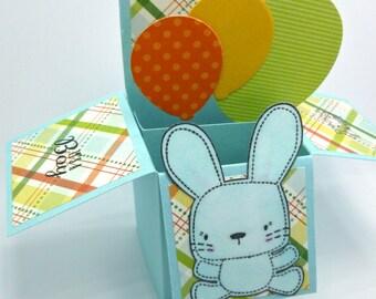 Box Pop Up Balloon Card, Baby Congratulations, Baby Boy Bunny Card, It's a Boy, Precious Baby Pop Up