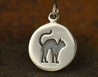 Sterling Silver Etched Halloween Cat Charm